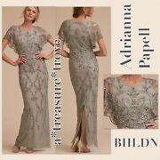 Nwt 320 Bhldn Adrianna Papell Riesling 4 And 8 Embellished Blue Grey Mob / Mog