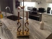 Vintage 1980s Brass Double Swan Desk Or Table Lamp Rare High Quality