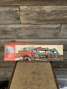 Vintage Super Auto Transport Truck Tin Litho Friction Toy Nomura Made In Japan