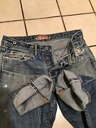 The Stronghold Los Angeles Overall Buttons Selvedge Distressed Denim Jeans Sz.29