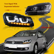 Pair Led Projector Headlights W Sequential Signal For 10-14 Vw Golf 6 Mk6 No Gti