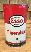 Rare Vintage 1 Qt Esso Mineralube Motor Oil Tin Can Gas Service Station Sign