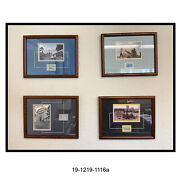 Set Of Four U.s. Military Academies Framed And Matted Photos With Stamps