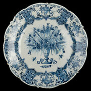 Dutch Delft Blue And White Dish With Flower Vase Three Bells Pottery 1740-1770