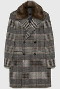 New Sold Out Zara Plaid Coat With Faux Fur Collar