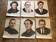 Antique 1960and039s Oil Paintings On Canvas Of Russian Poets