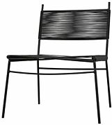 24 W Set Of 2 Occasional Chair Modern Black Metal Frame With Vinyl Cording