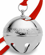 Wallace 2019 Silver-plate Sleigh Bell-49th Edition Holly And Ornaments New