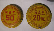 Old Mexican 2 Bottle Cap Oil Pemex Petroleos Mexicaanos Yellow 1960´s