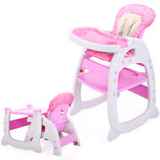 3 In 1 Baby High Chair Convertible Play Table Booster Toddler Feeding Tray Pink
