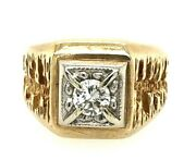 14k Yellow Gold 1/3ctw Men's Solitaire Diamond Ring, Size 8 - Collection G178