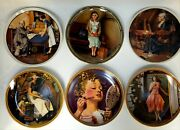 Lot Of 6 Norman Rockwell Knowles Bradford Exchange Decorative Plates