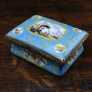 South Staffordshire Enamel Snuff Box Pale Blue Ground With Panels Of Scenes ...