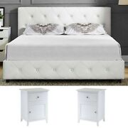 3 Pieces Bedroom Set Full Size White Modern Design Luxury Furniture Leather Bed