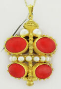 Genuine Sunshine Coral And Pearl Pendant 18k Gold Nwt Free Certificate