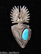 Navajo Sterling Silver Crow Mother Kachina Pin /w Turquoise 3 1/2
