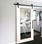 Mirrored Sliding Barn Door With Mirror Insert + Frosted Design + Hardware