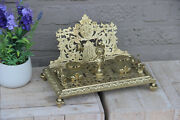 Vintage French Brass Inkwell Gothic Dragons Putti Head Dog Theme Rare