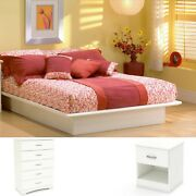Bedroom Set White Queen Size Furniture Bed 3 Pieces Chest Nightstand Modern Home