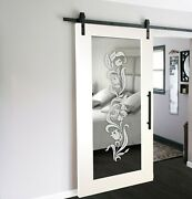 Sliding Barn Door With Mirror Insert Wmd-0008 + Frosted Design