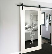 Mirrored Mdf Sliding Barn Door With Mirror Insert Wmd-0009 + Frosted Design