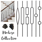 Iron Stair Balusters - Metal Stair Spindles - Satin Black Hollow Wrought Iron