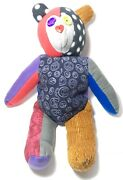 Vintage 24andrdquo 1970s Crazy Quilt Teddy Stuffed Bear Peace Groovy Home Made Toy Doll