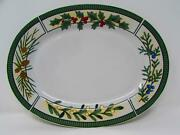 Wintergreen By Fairfield Oval Platter Holly Blue Red White Berries Pinecones