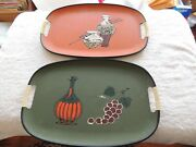 Lot Of Pair Vintage Tilso Hand Painted Serving Tray Japan 17.5 Signed 1bl