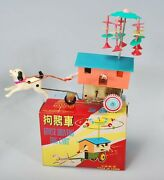 Vintage Chinese Tin Toy Goose Driving Dog Cart Ms 716 Wind Up Working Condition