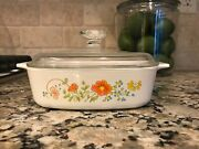 Vintage 1 Quart Corning Ware Wildflower Casserole With Pyrex Lid A-1-b