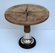 Nautical Round Table Rope Designer Natural Wooden Top Coffee Tea Side Table Item