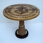 Anchor Design Nautical Wooden Table Rope Wrapped Coffee Tea Table Home Decor