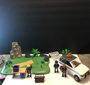 Playmobil Police W Table Bank Robber Criminals White Car Plus More