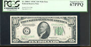 1934-c 10 Federal Reserve Note Wide Face Chicago G77011298c Pcgs 67ppq