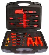Rs Pro Insulated Engineers Tool Kit 14pcs Knife Pliers Screwdriver And Spanners
