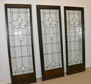 Three Antique Framed Beveled Clear Glass Door Panels 20 1/2 X 63 1/2