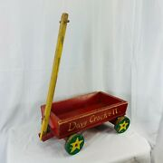 Vintage Antique 1940andrsquos Handmade Davy Crockett Wooden Toy Decor Red Wagon