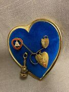 Vintage Wotm 4-1/2 Woman Of The Moose Charms On 2.5 Heart Badge Pin