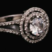 Marriage 1.35 Carat F Si1 Round Cut Diamond Halo Ring 18 K White Gold Real
