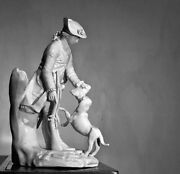 Höscht Figure Of A Hunter And His Dog, Jp Melchior, Left In The White, C. 1775
