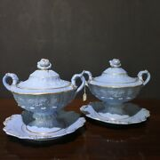 Pair Of Ridgway And039blue Bodyand039 Moulded Sauce Tureens C. 1830
