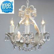 Mini Crystal Chandelier 4 Light White Floral Fixture Lighting Hanging Lamp