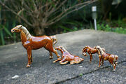 4 Pcs Chinese Porcelain Pottery Carving Miniature Horse Figurine - Marks