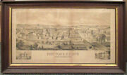 1879 Large Lithograph Bird's Eye View Of Fort Plain, New York