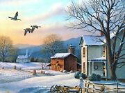 December Evening By Ronald Louque Country Winter Landscape Farm House Geese