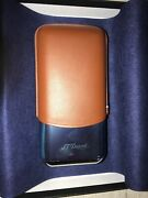 S.t Dupont 3 Cigar Case Leather/metal Brand New Brown/blue