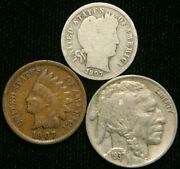 Old Us Coin Estate Lot Barber Dime Indian Head Cent Buffalo Nickel 3 Coin Set