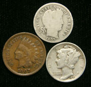 Old Us Coin Estate Lot Barber Dime Indian Head Cent Mercury Dime 3 Coin Set