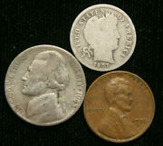 Old Us Coin Estate Lot Barber Dime War Nickel Wheat Cent 3 Coin Set